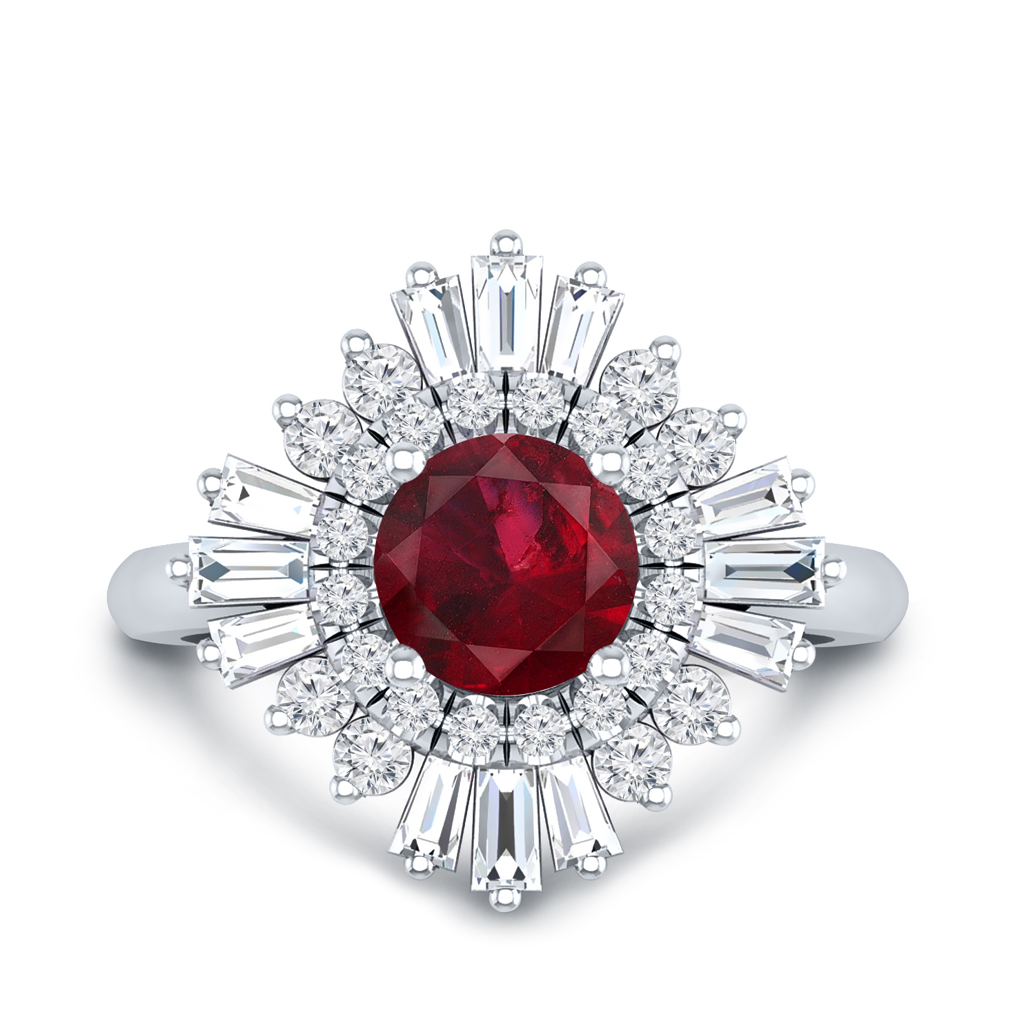 CHARLESTON Ballerina Halo Ruby Engagement Ring In 14K White Gold With 0.50 Carat Round Stone