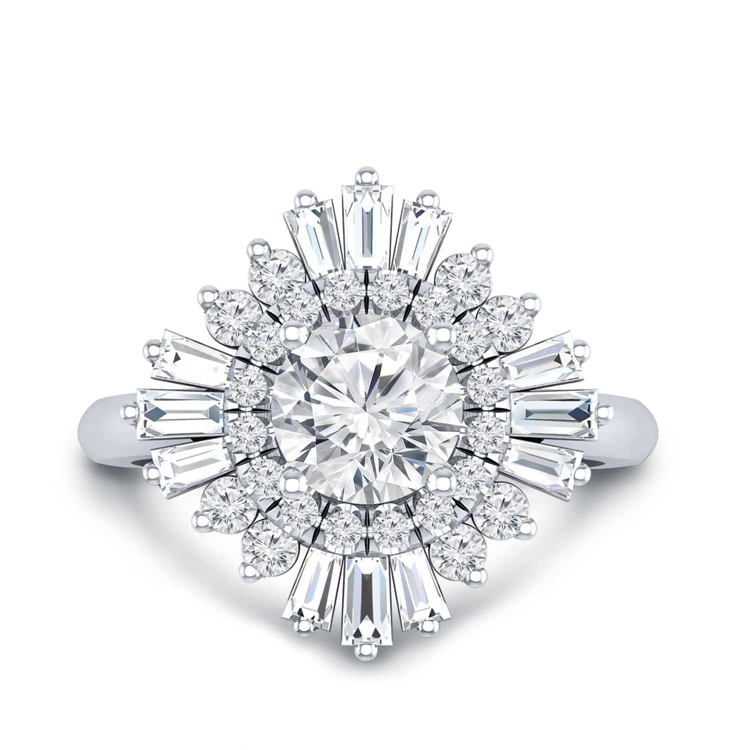 CHARLESTON Ballerina Halo Moissanite Engagement Ring In 14K White Gold With 0.50 Carat Round Stone