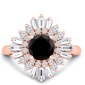 CHARLESTON  Ballerina  Halo  Black  Diamond  Engagement  Ring  In  14K  Rose  Gold  With  1.00  Carat  Round  Diamond