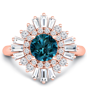 CHARLESTON  Ballerina  Halo  Blue  Diamond  Engagement  Ring  In  14K  Rose  Gold  With  0.50  Carat  Round  Diamond