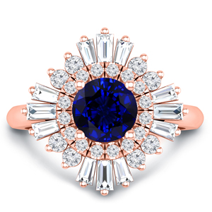 CHARLESTON Ballerina Halo Blue Sapphire Engagement Ring In 14K Rose Gold With 0.50 Carat Round Stone