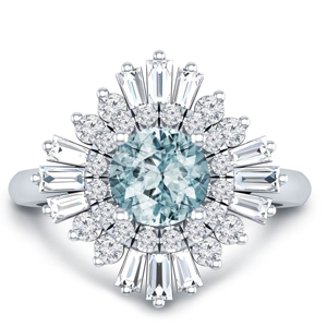 CHARLESTON  Ballerina  Halo  Aquamarine  Engagement  Ring  In  14K  White  Gold  With  1.00  Carat  Round  Stone