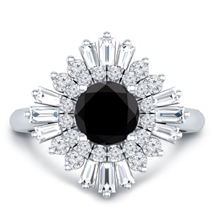 CHARLESTON Ballerina Halo Black Diamond Engagement Ring In 14K White Gold With 0.50 Carat Round Diamond