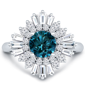 CHARLESTON  Ballerina  Halo  Blue  Diamond  Engagement  Ring  In  14K  White  Gold  With  0.50  Carat  Round  Diamond
