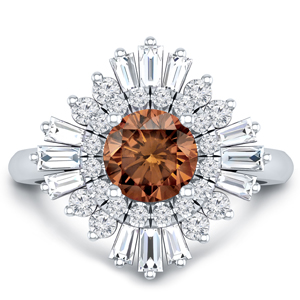 CHARLESTON Ballerina Halo Brown Diamond Engagement Ring In 14K White Gold With 0.30 Carat Round Diamond