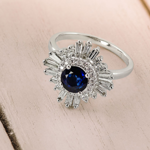 CHARLESTON  Ballerina  Halo  Blue  Sapphire  Engagement  Ring  In  14K  White  Gold  With  0.50  Carat  Round  Stone