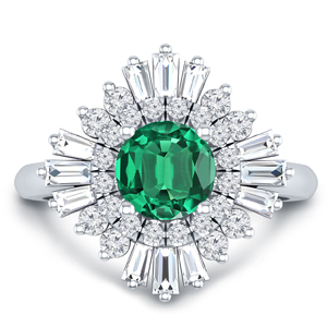 CHARLESTON Ballerina Halo Green Emerald Engagement Ring In 14K White Gold With 0.30 Carat Round Stone
