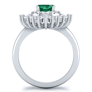CHARLESTON  Ballerina  Halo  Green  Emerald  Engagement  Ring  In  14K  White  Gold  With  0.50  Carat  Round  Stone