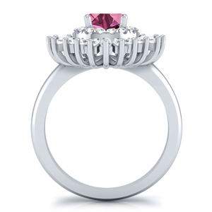 CHARLESTON  Ballerina  Halo  Pink  Sapphire  Engagement  Ring  In  14K  White  Gold  With  0.50  Carat  Round  Stone