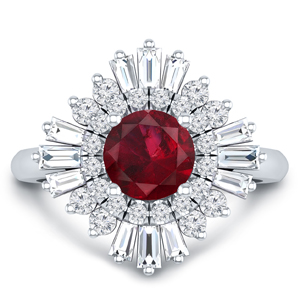 CHARLESTON Ballerina Halo Ruby Engagement Ring In 14K White Gold With 0.30 Carat Round Stone