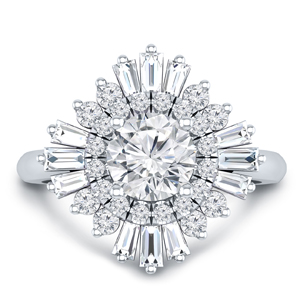 CHARLESTON Ballerina Halo Diamond Engagement Ring In 14K White Gold With 0.50ct. Round Diamond