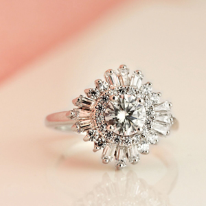 CHARLESTON Ballerina Halo Diamond Engagement Ring In 14K White Gold