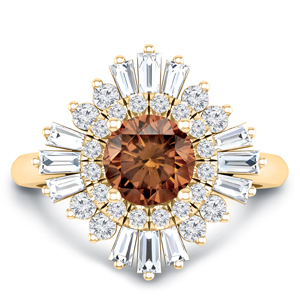 CHARLESTON  Ballerina  Halo  Brown  Diamond  Engagement  Ring  In  14K  Yellow  Gold  With  0.50  Carat  Round  Diamond