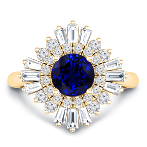 CHARLESTON Ballerina Halo Blue Sapphire Engagement Ring In 14K Yellow Gold With 0.50 Carat Round Stone