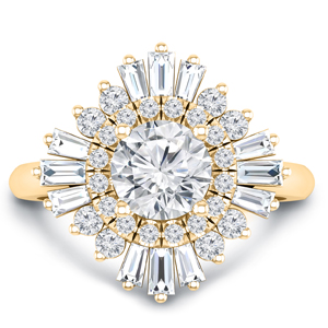 CHARLESTON Ballerina Halo Diamond Engagement Ring In 14K Yellow Gold