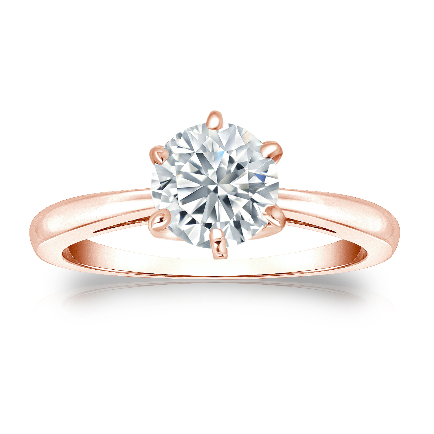 SCARLETT Solitaire Six Prong Diamond Engagement Ring In 14K Rose Gold