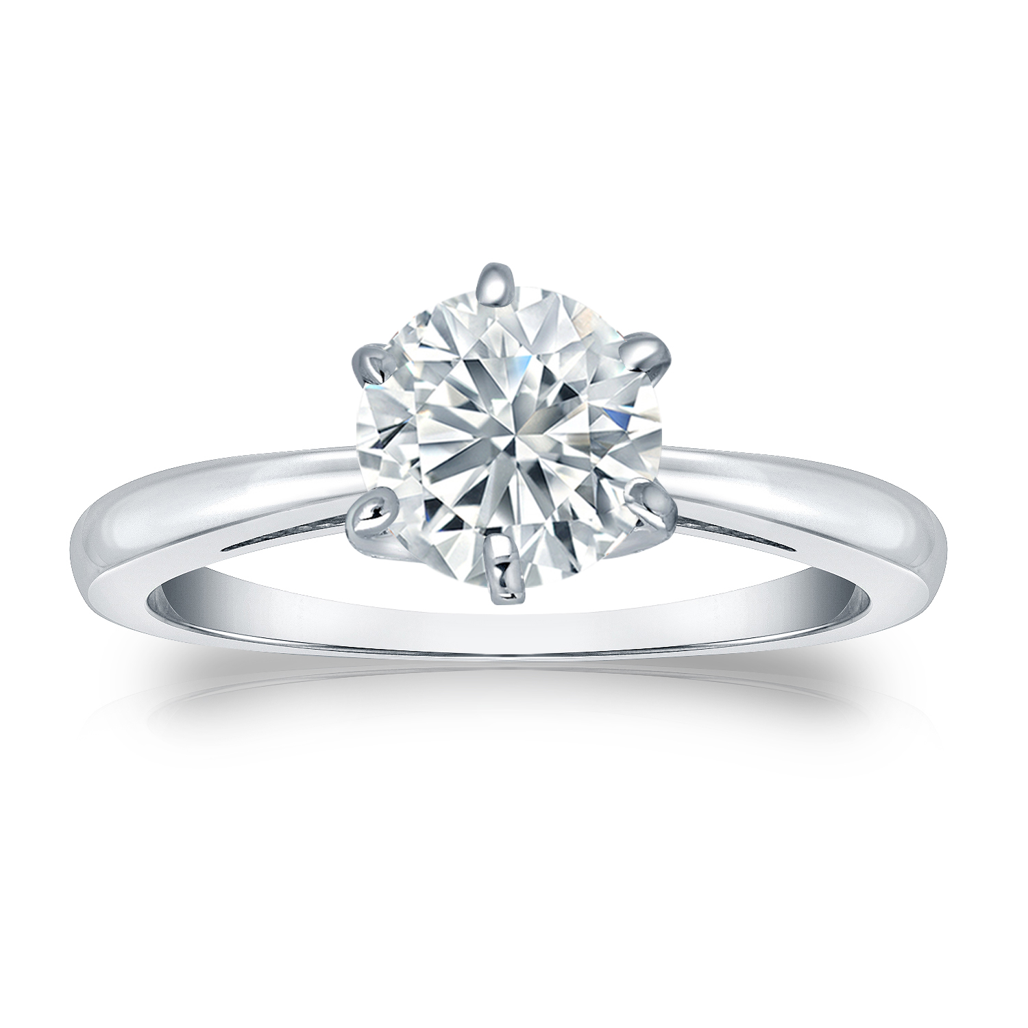SCARLETT Solitaire Moissanite Engagement Ring In 14K White Gold With 0.50 Carat Round Stone