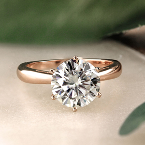 SCARLETT  Solitaire  Moissanite  Engagement  Ring  In  14K  Rose  Gold  With  0.50  Carat  Round  Stone