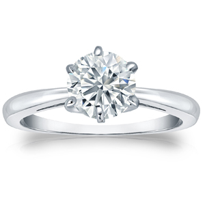 SCARLETT Solitaire Six Prong Diamond Engagement Ring In 14K White Gold With 0.50ct. Round Diamond