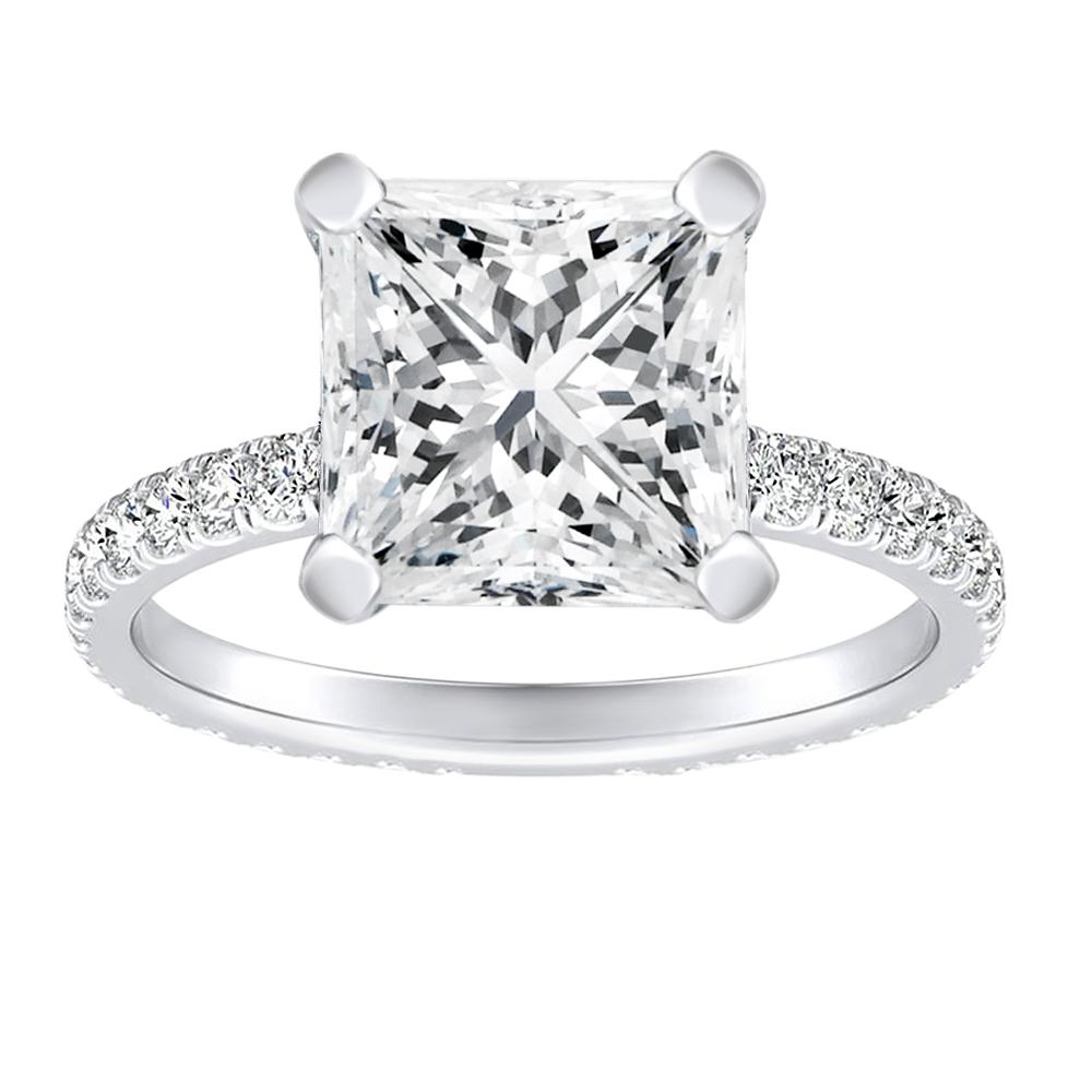 ARABELLA Diamond Eternity Engagement Ring In 14K White Gold