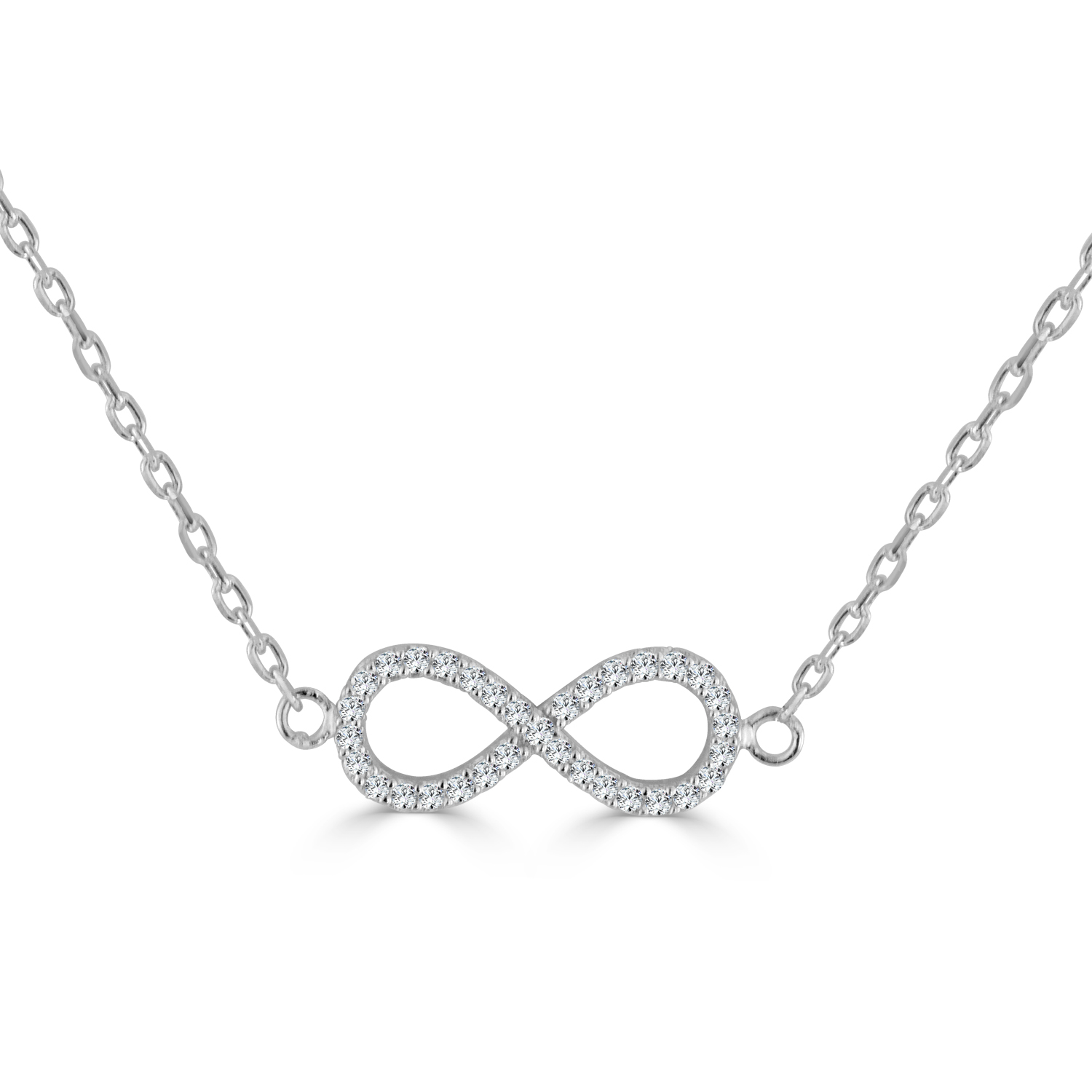 INFINITE Sterling Silver CZ Studded Infinity Necklace