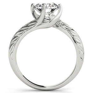Laura Vintage Solitaire Diamond Engagement Ring in 14K White Gold