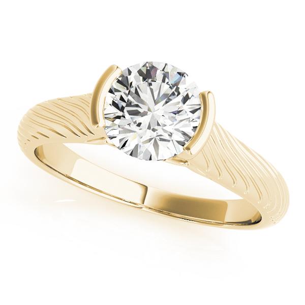 Fleur-de-lis Vintage Solitaire Diamond Engagement Ring in 14K Yellow Gold