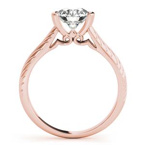Fleur-de-lis Vintage Solitaire Diamond Engagement Ring in 14K Rose Gold