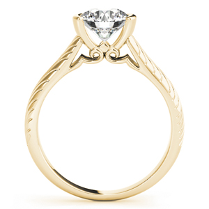 Fleur-de-lis Vintage Solitaire Diamond Engagement Ring in 14K Yellow Gold