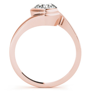 Lune Modern Solitaire Diamond Engagement Ring in 14K Rose Gold
