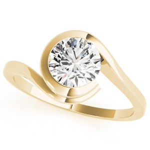 Lune Modern Solitaire Diamond Engagement Ring in 14K Yellow Gold