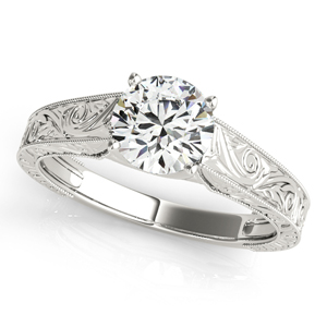 Florence Vintage Solitaire Diamond Engagement Ring in 14K White Gold