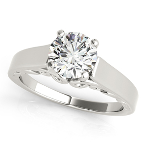 Eliza Solitaire Diamond Engagement Ring in 14K White Gold