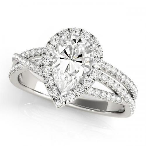 Cynthia Halo Diamond Engagement Ring in 14K White Gold