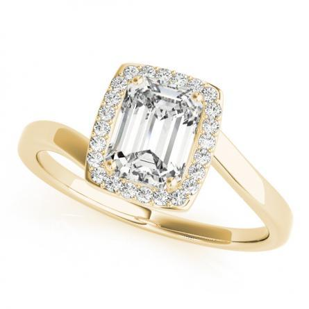 Serenity Halo Diamond Engagement Ring in 14K Yellow Gold