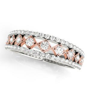 CLAIRE Vintage Diamond Wedding Ring in 14K White and Rose Gold