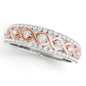 HAILEY Diamond Wedding Ring in 14K White and Rose Gold