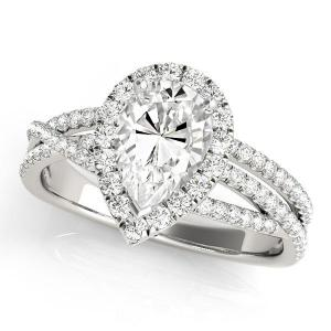Cynthia Halo Diamond Engagement Ring in 14K White Gold