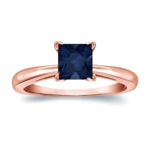 Blue Sapphire Solitaire Ring In 14K Rose Gold