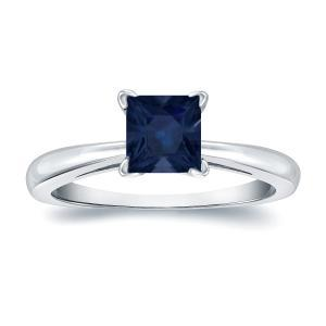 Blue Sapphire Solitaire Ring In 14K White Gold
