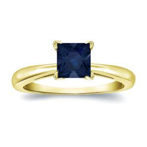 Blue Sapphire Solitaire Ring In 14K Yellow Gold