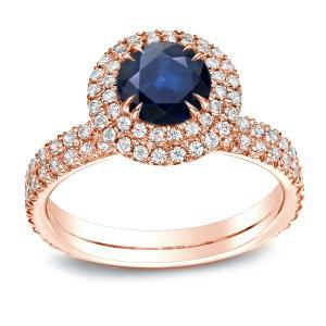 Blue Sapphire Halo Engagement Ring In 14K Rose Gold