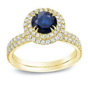 Blue Sapphire Halo Engagement Ring In 14K Yellow Gold