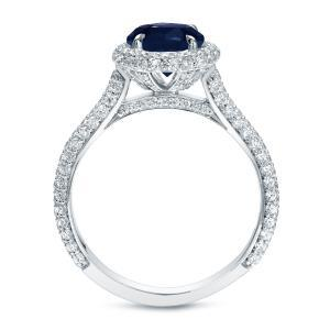 Blue Sapphire Halo Engagement Ring In 14K White Gold