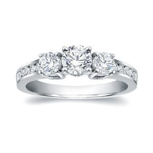 Three Stone Engagement Ring In 14K White Gold