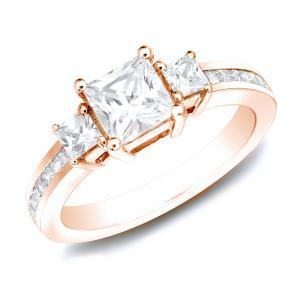 Three Stone Engagement Ring In 14K Rose Gold
