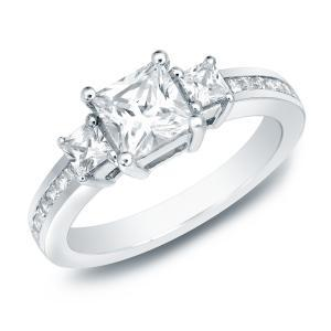 Three Stone Engagement Ring In 18K White Gold