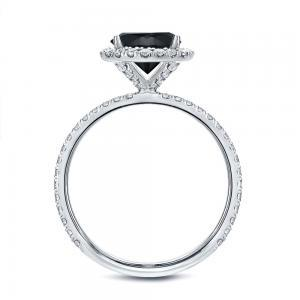 Black Diamond Halo Engagement Ring In 14K White Gold