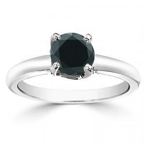 Black Diamond Solitaire Engagement Ring In 14K White Gold