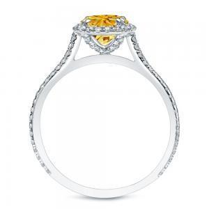 Yellow Diamond Halo Engagement Ring In 14K White Gold
